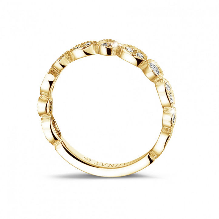 0.30 carat diamond stackable alliance in yellow gold with marquise design