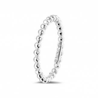 White Gold Diamond Rings - Stackable beaded ring in white gold