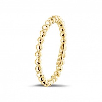 Yellow Gold Diamond Rings - Stackable beaded ring in yellow gold