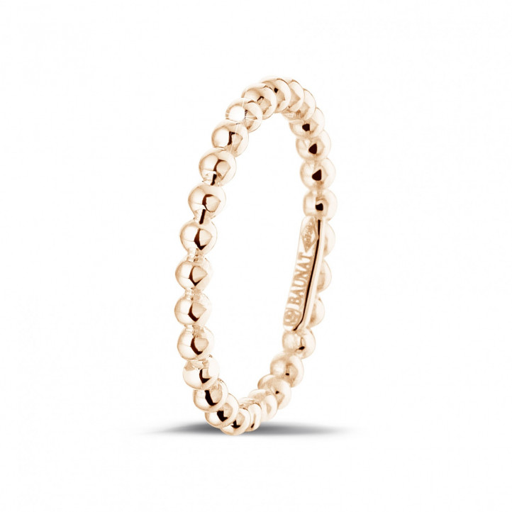 Stackable beaded ring in red gold