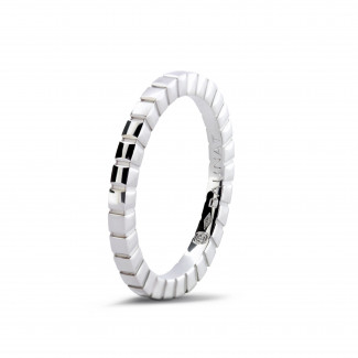 Wedding - Stackable chequered ring in white gold