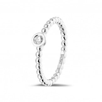White Gold Diamond Rings - 0.07 carat diamond stackable beaded ring in white gold