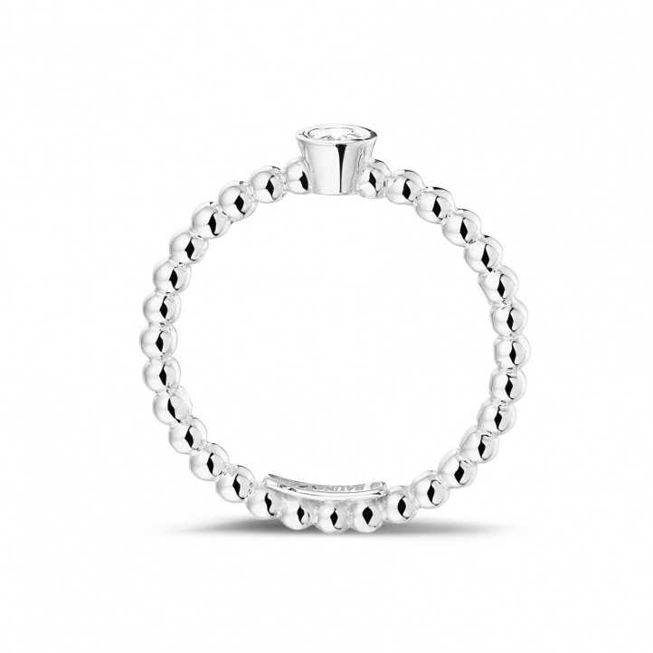 0.07 carat diamond stackable beaded ring in white gold
