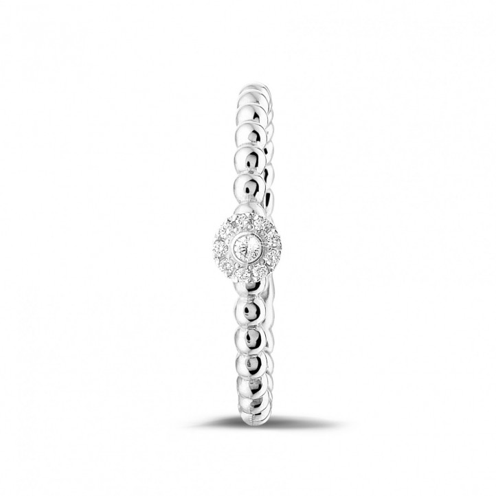 0.04 carat diamond stackable beaded ring in white gold