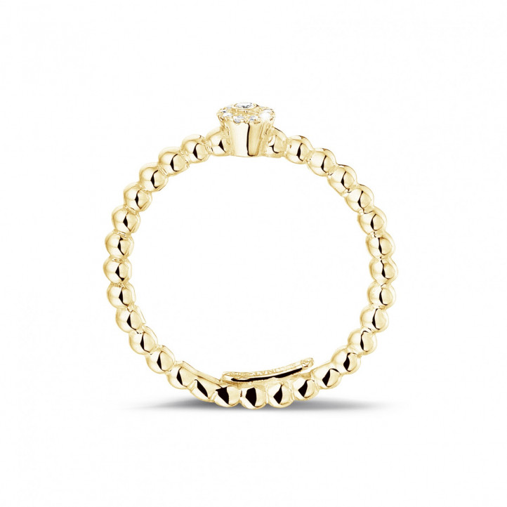 0.04 carat diamond stackable beaded ring in yellow gold