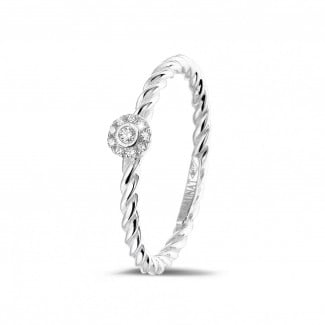 Rings - 0.04 carat diamond stackable twisted ring in white gold