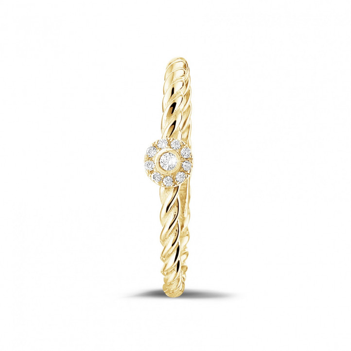 0.04 carat diamond stackable twisted ring in yellow gold