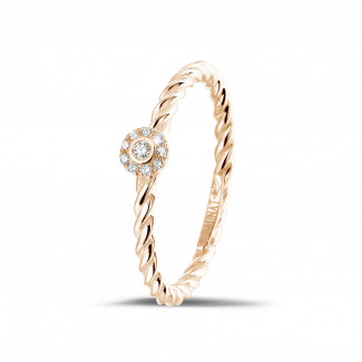 Red Gold Diamond Rings - 0.04 carat diamond stackable twisted ring in red gold