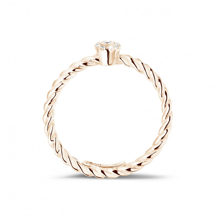 0.04 carat diamond stackable twisted ring in red gold
