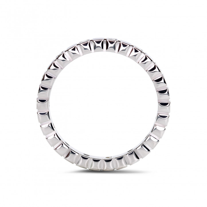 0.07 carat diamond stackable chequered ring in white gold