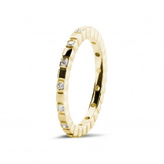 Wedding - 0.07 carat diamond stackable chequered ring in yellow gold