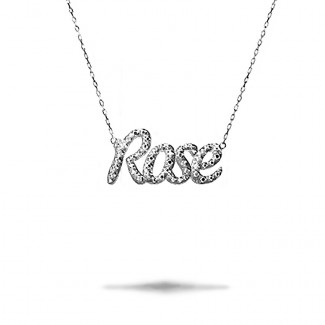 White Gold Diamond Necklaces - Customized name pendant in 18Kt gold with round diamonds