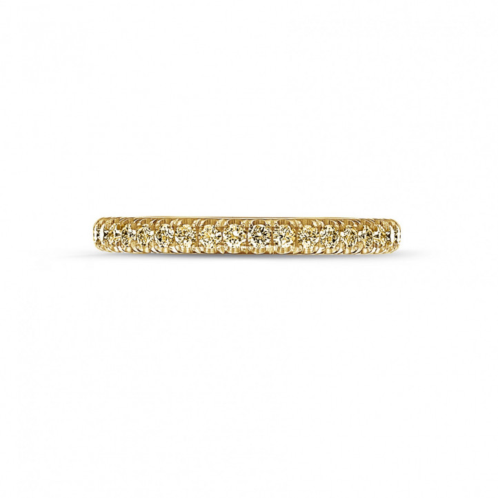 0.35 carat eternity ring (half set) in yellow gold with yellow diamonds