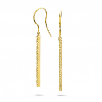 Earrings - 0.35 carat rod earrings in yellow gold with yellow diamonds