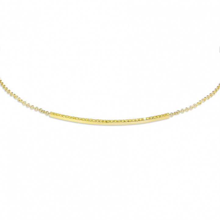 0.30 carat fine necklace in yellow gold with yellow diamonds