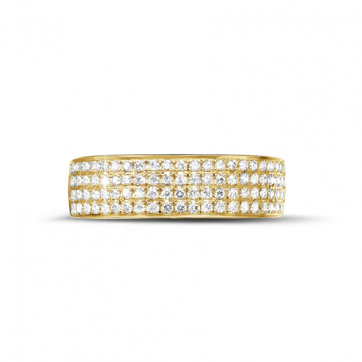0.64 carat wide diamond eternity ring in yellow gold