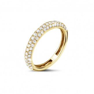 Yellow Gold Diamond Rings - 0.65 carat diamond eternity ring (half set) in yellow gold