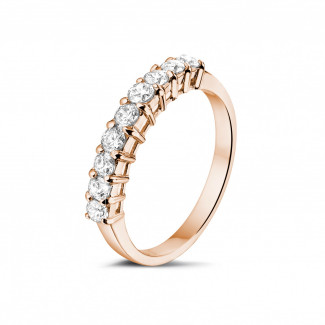 Red gold diamond wedding rings - 0.54 carat diamond eternity ring in red gold