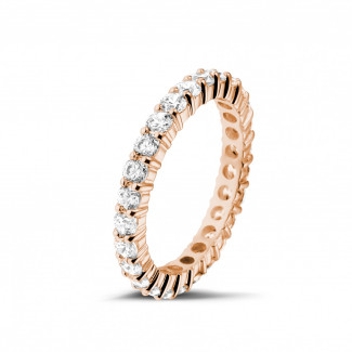 Red gold diamond wedding rings - 1.56 carat diamond eternity ring in red gold