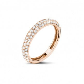 Red gold diamond wedding rings - 0.65 carat diamond eternity ring (half set) in red gold