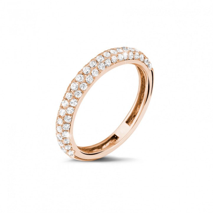 0.65 carat diamond eternity ring (half set) in red gold