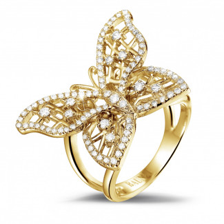 Yellow Gold Diamond Rings - 0.75 carat diamond butterfly design ring in yellow gold