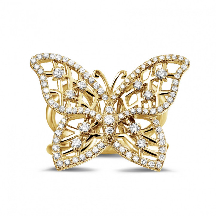 0.75 carat diamond butterfly design ring in yellow gold