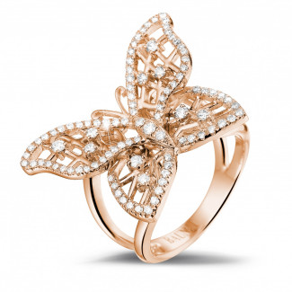 Red Gold Diamond Rings - 0.75 carat diamond butterfly design ring in red gold