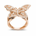 0.75 carat diamond butterfly design ring in red gold