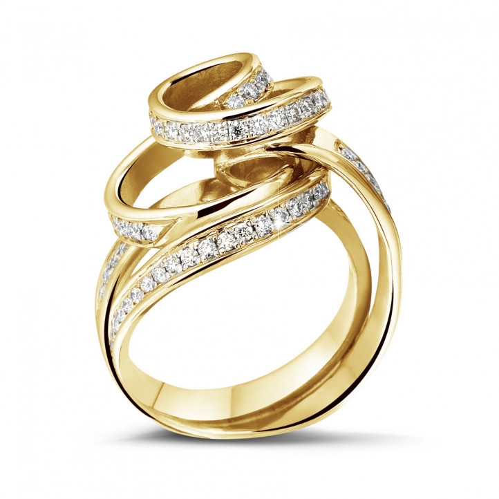 0.85 carat diamond design ring in yellow gold