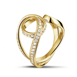 Yellow Gold Diamond Rings - 0.55 carat diamond design ring in yellow gold