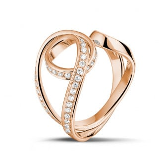 Red Gold Diamond Rings - 0.55 carat diamond design ring in red gold