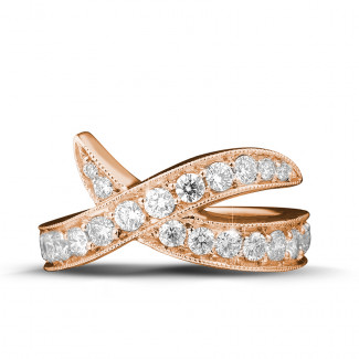 Red Gold Diamond Rings - 1.40 carat diamond design ring in red gold