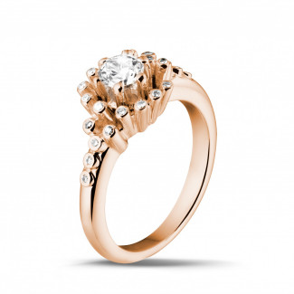 Red Gold Diamond Rings - 0.50 carat diamond design ring in red gold