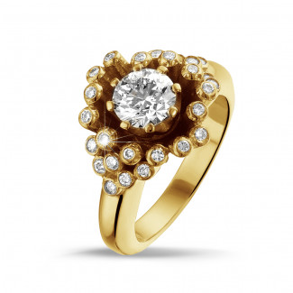 Yellow Gold Diamond Rings - 0.90 carat diamond design ring in yellow gold