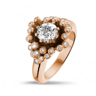 Red Gold Diamond Rings - 0.90 carat diamond design ring in red gold