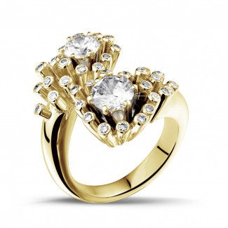 Yellow Gold Diamond Engagement Rings - 1.50 carat diamond Toi et Moi design ring in yellow gold