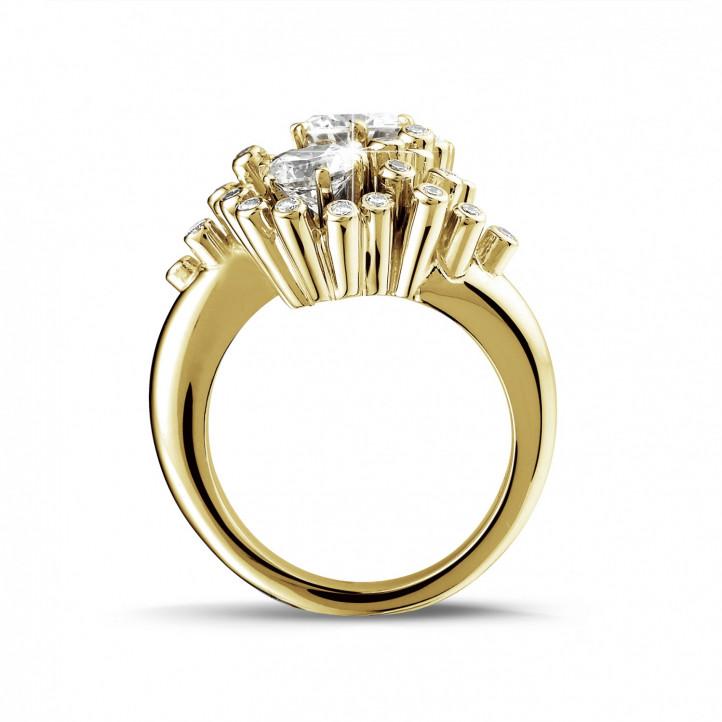 1.50 carat diamond Toi et Moi design ring in yellow gold