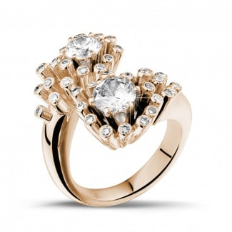 Red Gold Diamond Engagement Rings - 1.50 carat diamond Toi et Moi design ring in red gold