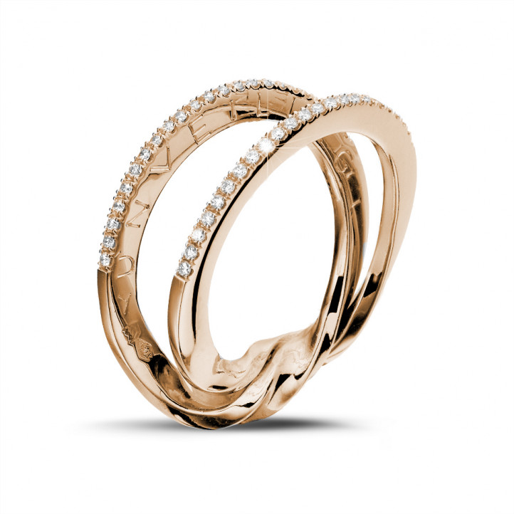 0.26 carat diamond design ring in red gold
