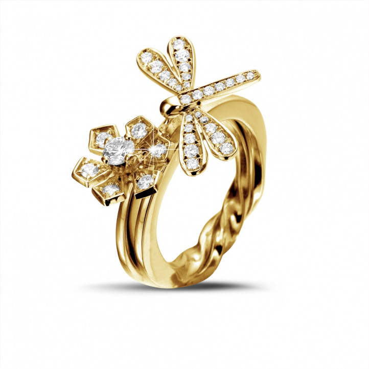 0.55 carat diamond flower & dragonfly design ring in yellow gold