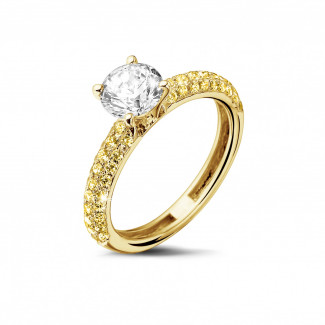 Yellow Gold Diamond Rings - 1.00 carat solitaire ring (half set) in yellow gold with yellow side diamonds