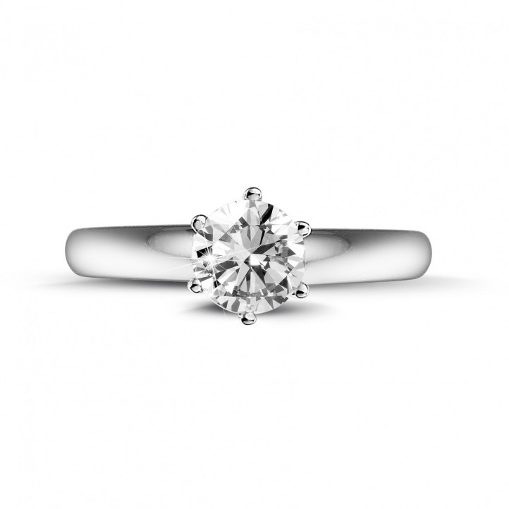 0.50 carat solitaire diamond ring in white gold with six prongs
