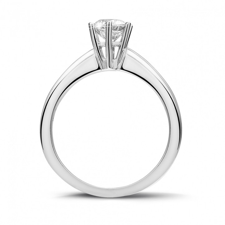 0.70 carat solitaire diamond ring in platinum with six prongs