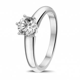 - 0.75 carat solitaire diamond ring in white gold with six prongs