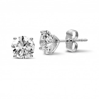 2.50 carat classic diamond earrings in platinum with four prongs