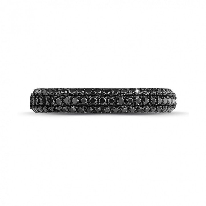 0.85 carat eternity ring (full set) in white gold with black diamonds