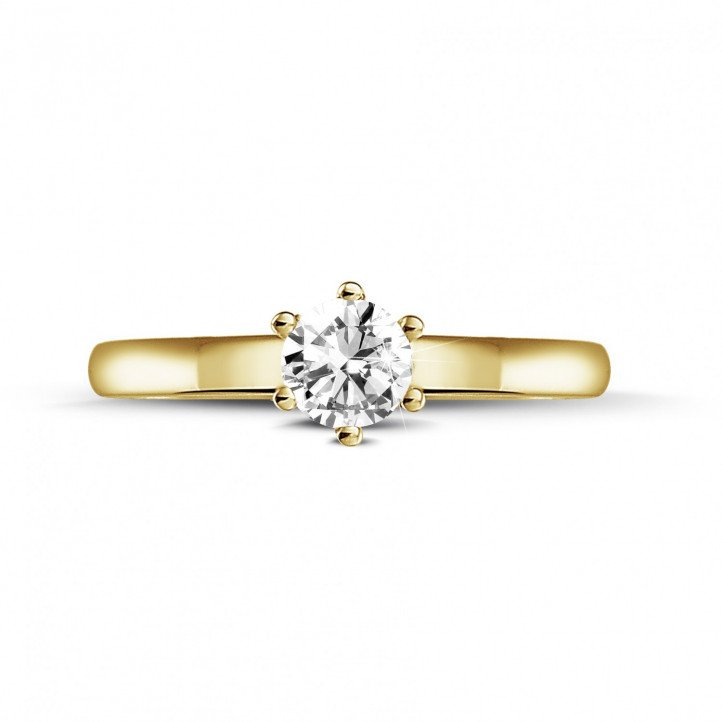 0.30 carat solitaire diamond ring in yellow gold with six prongs