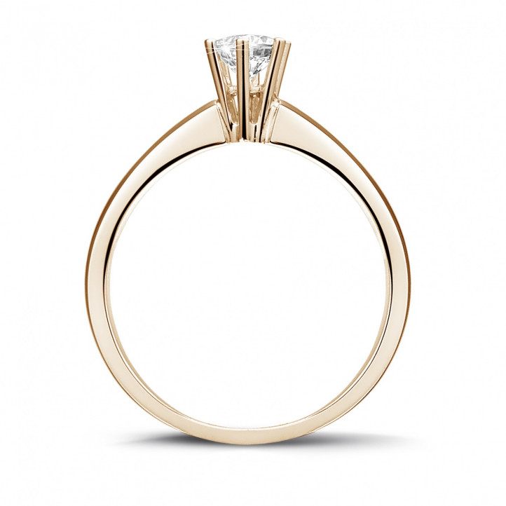 0.30 carat solitaire diamond ring in red gold with six prongs