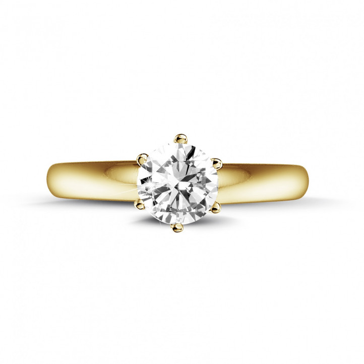 0.50 carat solitaire diamond ring in yellow gold with six prongs